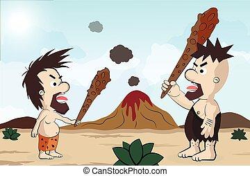caveman, carattere, cartone animato