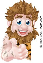 caveman, cartone animato, segno