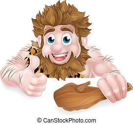 caveman, cartone animato, sopra, segno