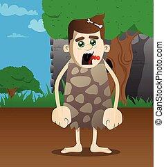 caveman, cartone animato, standing.