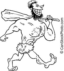 caveman cartoon coloring page - Black and White Cartoon...