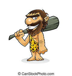 Caveman - caveman is standing holding a weapon from the ...