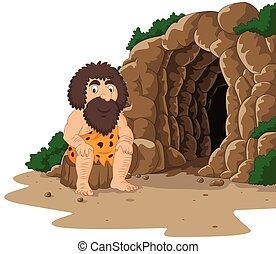 caveman, caverna, cartone animato, fondo, seduta