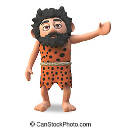 Caveman character in 3d gestures to his left, 3d ...
