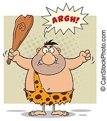 caveman, club, arrabbiato, carattere, presa a terra, cartone animato