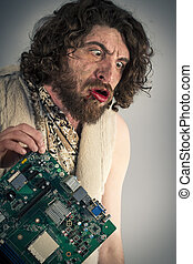 Caveman Confused Technology