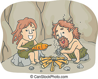 Caveman Cooking - Illustration of a Caveman Couple Trying to...