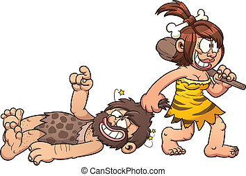 Cave woman dragging caveman clip art. Vector cartoon illustration with simple gradients. All in a single layer.