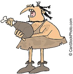 Caveman eating a large drumstick - This illustration depicts...