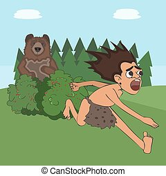 caveman escaping the bear funny cartoon
