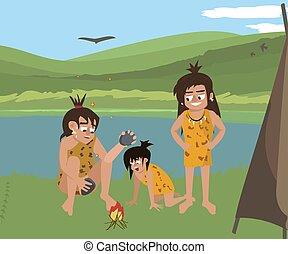 caveman family at wild nature landscape vector cartoon