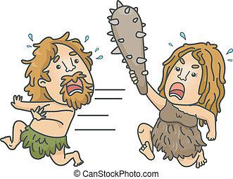 Caveman Fight - Illustration of a Female Caveman Brandishing...