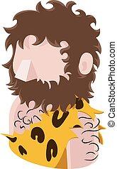 caveman, folk, avatar, ikon