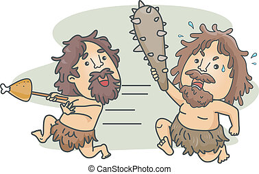 Caveman Food Fight - Illustration of a Male Caveman Carrying...