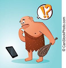 caveman found a gadget - prehistoric age of caveman...