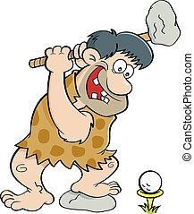 caveman, golf., cartone animato, gioco
