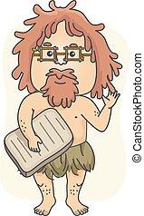 caveman, historiador, professor, ilustração, homem