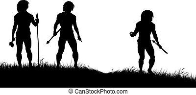 Caveman hunters - Editable vector silhouettes of three...