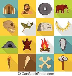 Caveman icons set, flat style