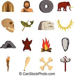 Caveman icons set vector flat