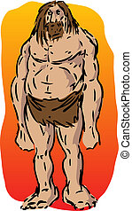 Caveman illustration, sketch of brutish muscular primitive ...