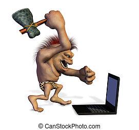 Caveman Killing a Laptop - 3D render.