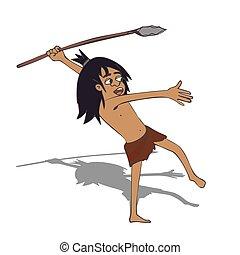 caveman, lancia, cartone animato, braccare