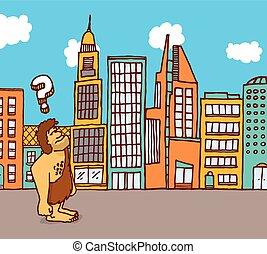 Caveman lost in the city