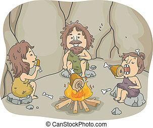 caveman, maaltijd, gezin
