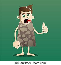 Caveman making thumbs up sign.
