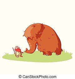 caveman, mammut, cartone animato