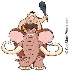 caveman, mammut, sopra, felice