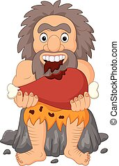 caveman, mangiare, cartone animato, carne