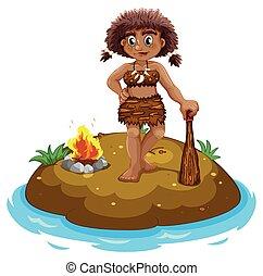 Caveman on island