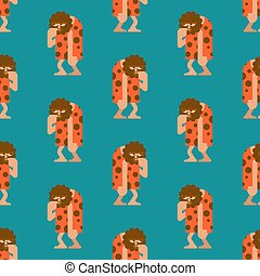 Caveman pattern seamless. Prehistoric man background . Ancient man ornament. Vector texture