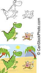 caveman, perseguindo, dinossauro, zangado