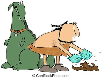 This illustration depicts a caveman stooping over to pick up his pet dinosaur's droppings.