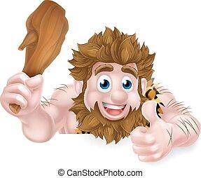 caveman, pollici, cartone animato, segno