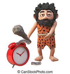 Caveman prehistoric character in 3d smashes his alarm clock ...
