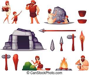 caveman, preistorico, set