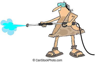 Caveman pressure wash - This illustration depicts a caveman...