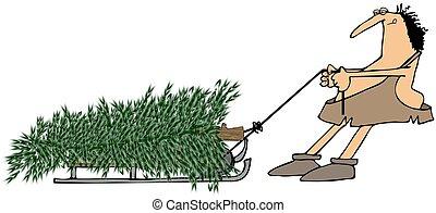Caveman pulling a Christmas tree