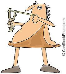 caveman, punteria, uno, fionda