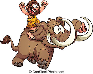 Caveman riding a mammoth. Vector clip art illustration with...
