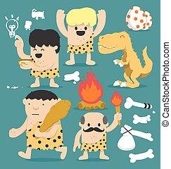 caveman, sæt, cartoon, illustration