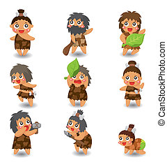 caveman, sæt, ikon, vektor, cartoon