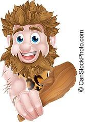 caveman, sbirciando, cartone animato, intorno, segno