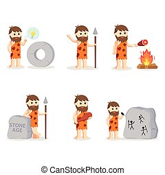 caveman set illustration design