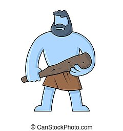 Caveman standing with a club in his hand. Flat vector illustration, isolated on white background.
