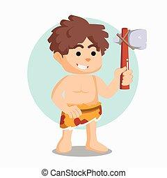 caveman, steen, vasthouden, bijl